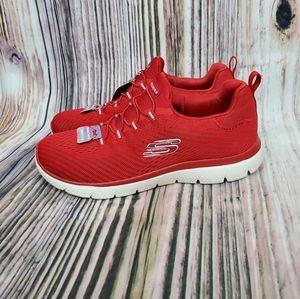 Skechers Summit Red Bungee Slip On Sneakers